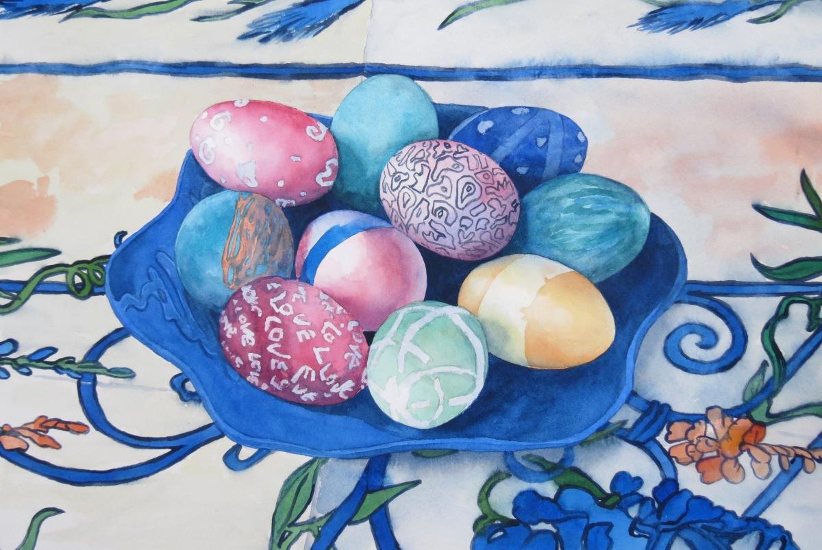 Easter Eggs watercolour Andrew Henderson