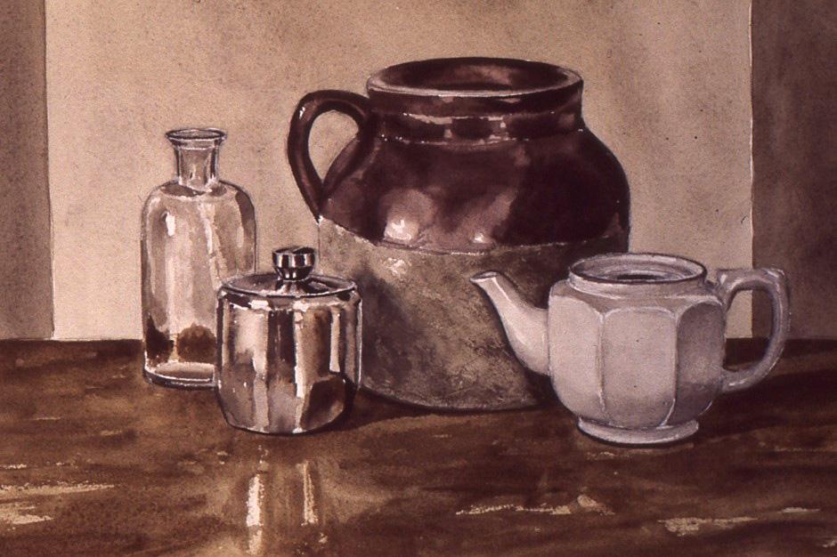 Baked Beans & Tea watercolour Andrew Henderson