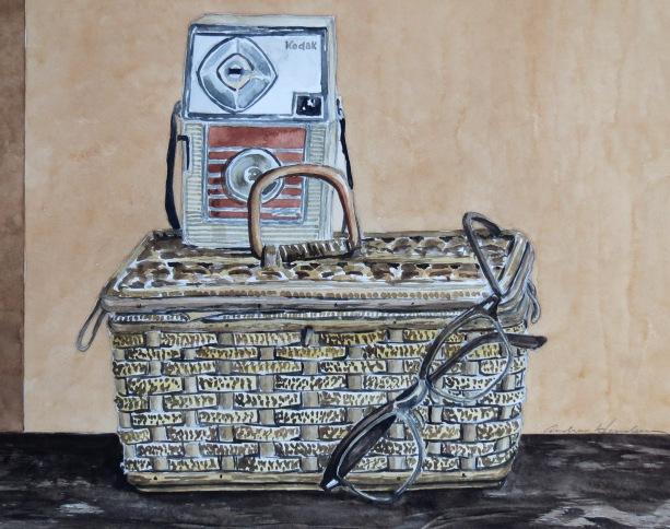 Letter Basket watercolour Andrew Henderson