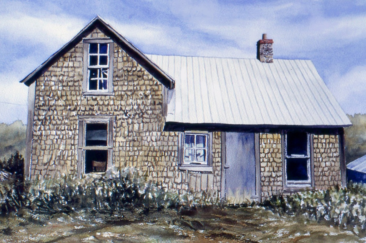 House on the Ridge watercolour Andrew Henderson