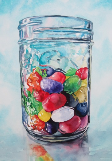 Just Another Jelly Bean watercolour Andrew Henderson