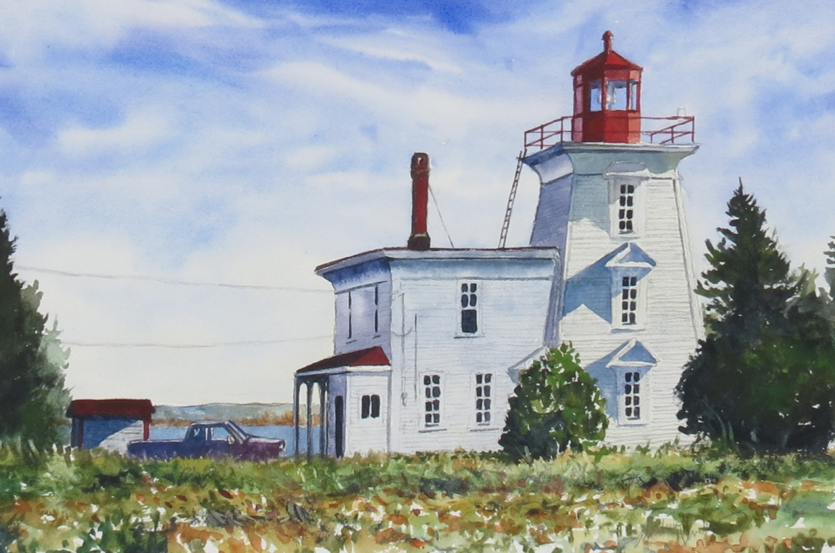 Blockhouse Point Lighthouse watercolour Andrew Henderson