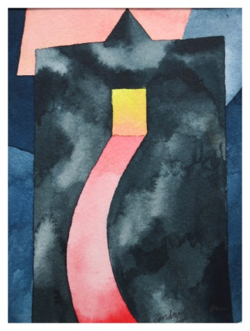 Light in a Dark Tower watercolour Andrew Henderson