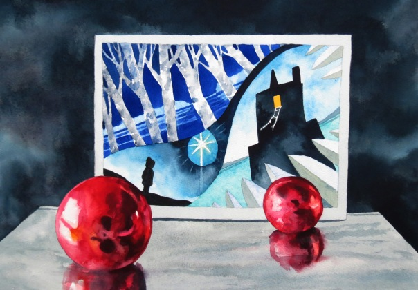Cool Winter Night watercolour Andrew Henderson