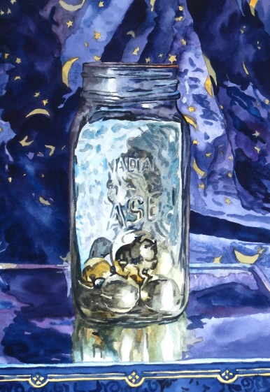 Moon & Stars watercolour Andrew Henderson
