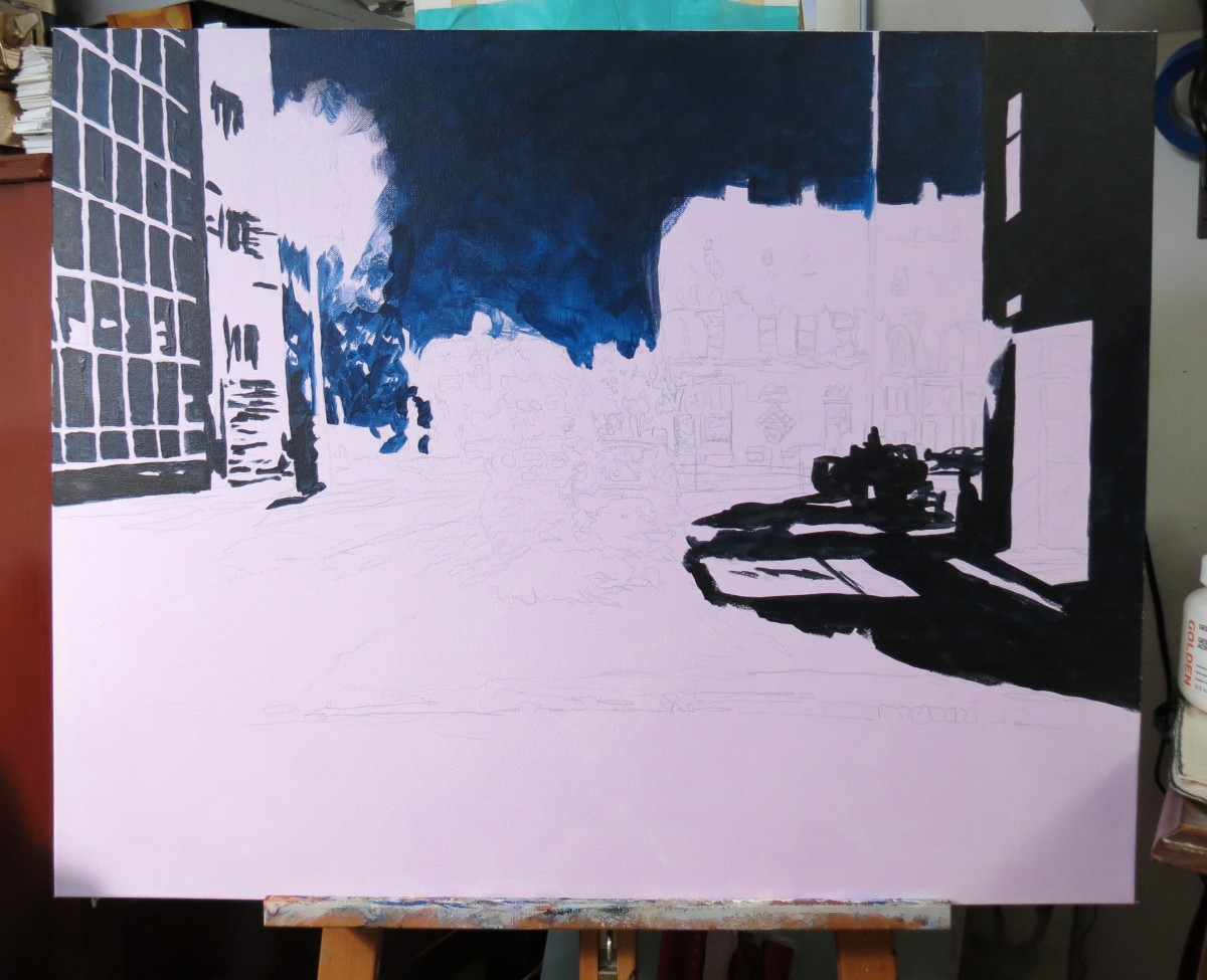 richmond street night acrylic wip