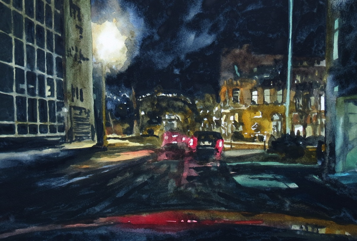 richmond street night watercolour andrew henderson