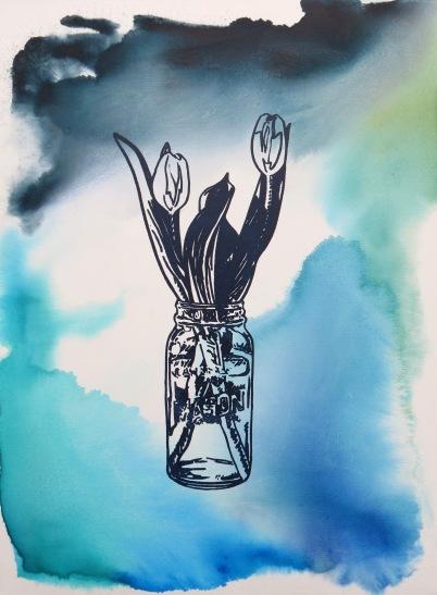 Tulips - Aqua Wash acrylic Andrew Henderson