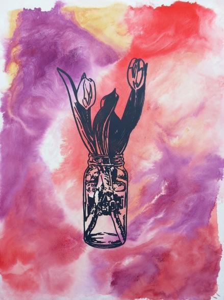 Tulips - Crimson Patina acrylic Andrew Henderson