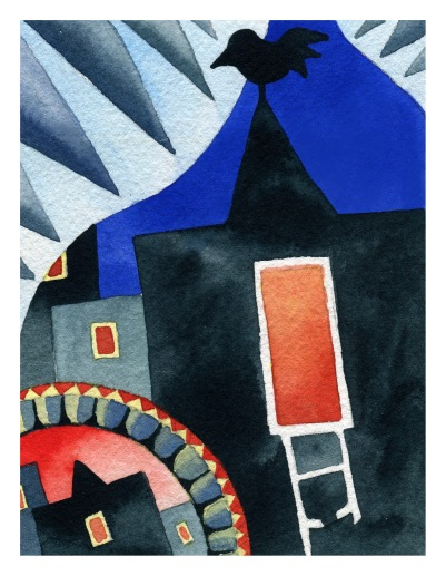 Crow Cries watercolour Andrew Henderson