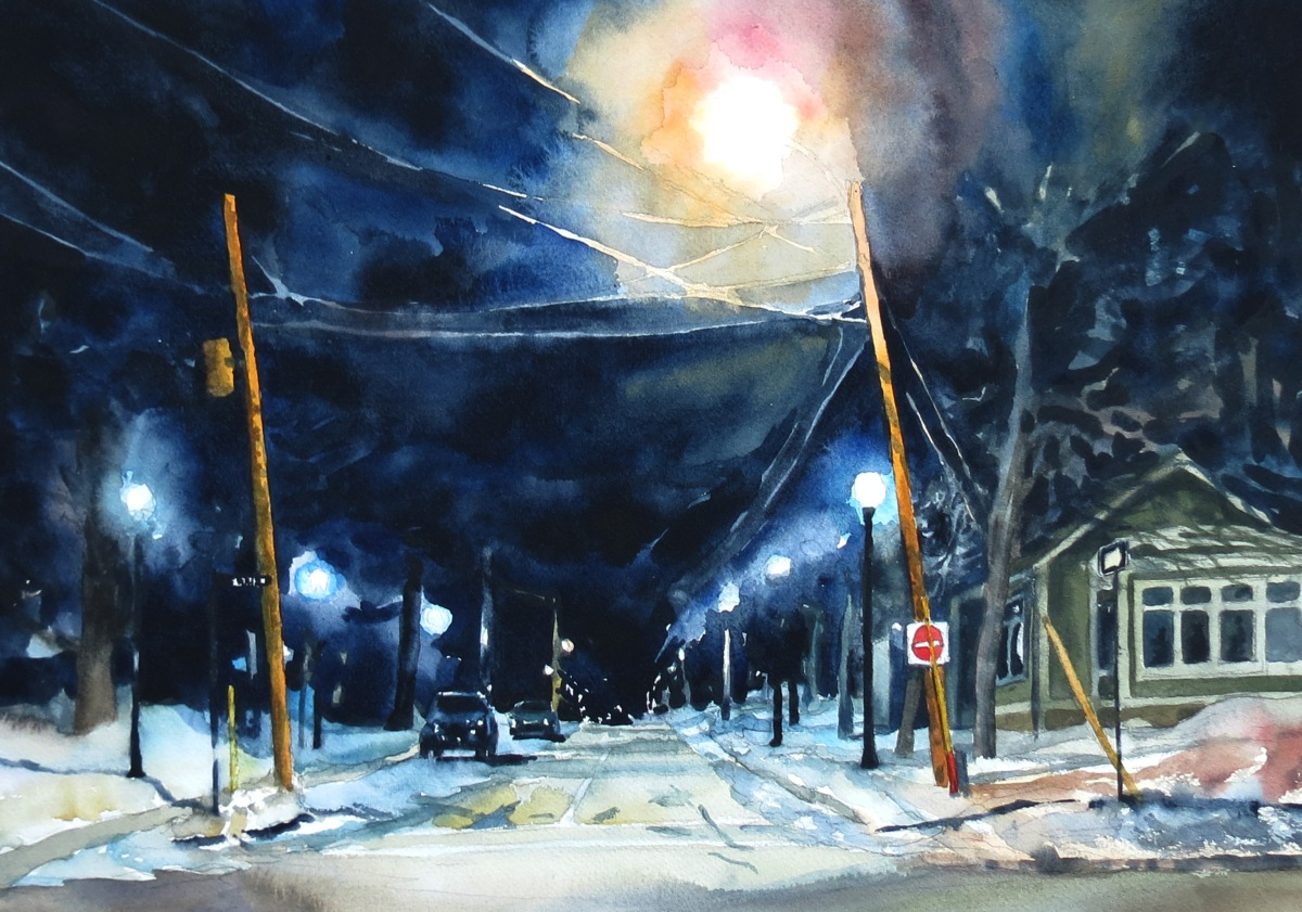 Fitzroy Night watercolour Andrew Henderson