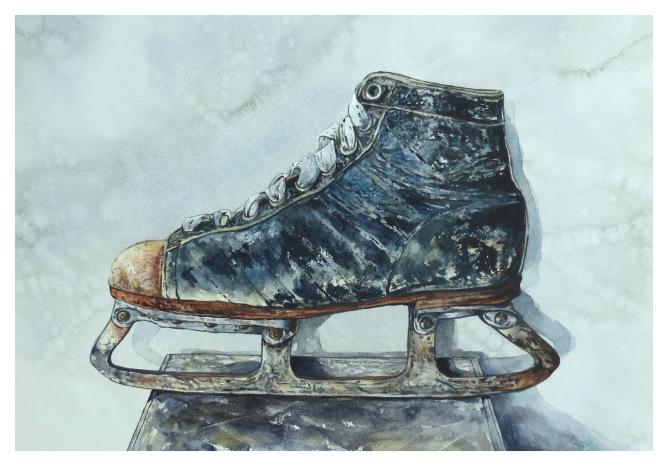 A Silver Skate watercolour painting Andrew Henderson